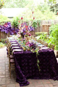 Midsummer Nights dream Bridal Shower www.poshshoppeflorist.com Posh Shoppe Florist purple gold garden shower