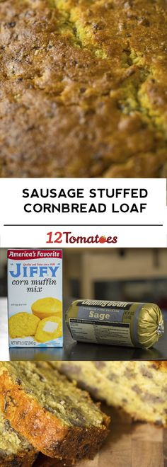 Sausage-Stuffed Cornbread Loaf, a great breakfast treat or chili side dish!