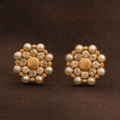 Ahalya Diamond and Pearl Ear Stud A1005 - Jewellery / All Jewellery - Parisera