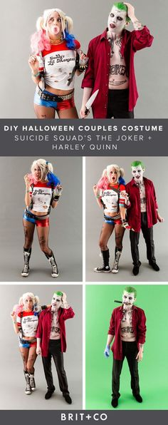 Save this DIY Halloween couples costume idea to become the Joker + Harley Quinn from Suicide Squad.