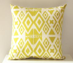 Diamonds in the Rough - organic fabric, ikat, chartreuse screenprinted pillow Environmentally Friendly Gifts, Ikat Pillows, Home Office Organization, Rough Diamond, House Warming, Screen Printing, Pillow Covers, Creations, Organic
