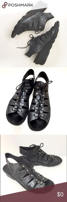 Size 40 Comfortable Adorable Clear And Distinctive Wolky Lace Up Black Leather Shoes