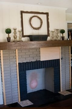 """Tutorial from The Lettered Cottage.  $89 Fireplace redo.  I need to do this!  Our fire place looks like her's did (in her """"before"""" photos)."""