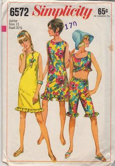 Simplicity 6572  Skimmer Shift Dress Midriff Crop Top and Knee Length Drawstring Pants womens vintage sewing pattern by mbchills