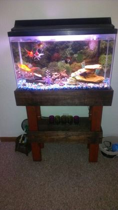 1000 images about fish tank cabinet on pinterest fish for Pallet aquarium stand