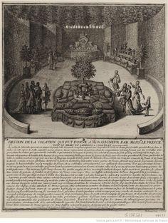 Dessein de la Colation qui fut donné à Monseigneur par Mons.r le prince dans le milieu du labirinte à Chantilly le 29 Aoust 1688 : [estampe] | Gallica