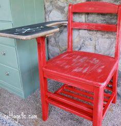 """School Desk w/ Chalkboard Paint by Brenda @ """"Cottage 4C."""""""