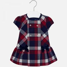 MAYORAL TODDLER GIRLS CLOTHING 2911 RED/NAVY CHECK DRESS