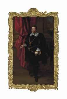 Portrait of Francis Cottington, 1st Baron Cottington (c.1579-1652), full-length, in a black velvet doublet and gold chain, his left hand resting on the hilt of his sword