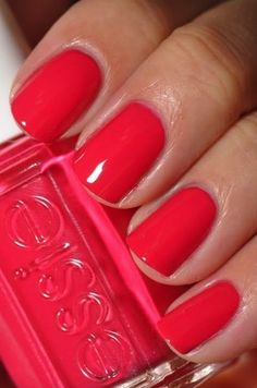 Watermelon Essie. Perfect color for the summer!  Come in to Safie Salon and Day Spa and get a mani with this color today. www.safiesalonspa.com #nails #manicure #beauty