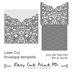 Scroll Wedding Envelope pattern Template swirl cutting file (svg dxf ai eps png pdf) laser cut Silhouette Cameo Cricut Instant Download