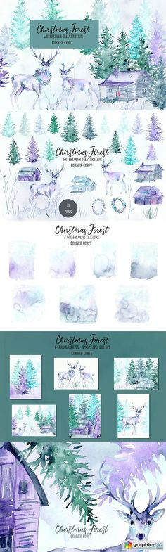 Watercolor Christmas Forest  stock images