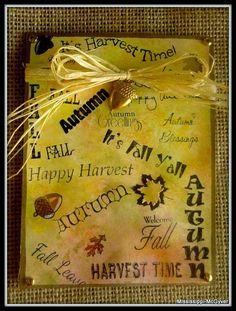 Autumn, Fall, Harvest, card, leaves, raffia, acorn, nuts