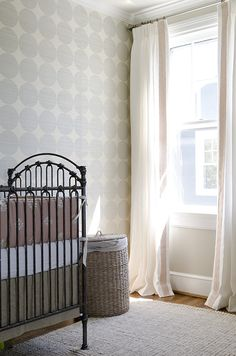 light blue, coral, taupe baby girl's room