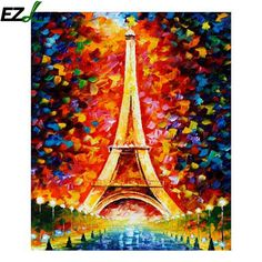 1pcs Eiffel Tower Oil Painting By Numbers House Decorative Accessories Wall Art DIY Oil Painting for House Decoration LQW2438 #Affiliate