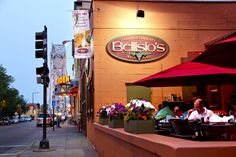 Bellisio's patio Places To Eat, Great Places, Canal Park Duluth, Italian Village, Minnesota, Times Square, Patio, Vacation, Travel