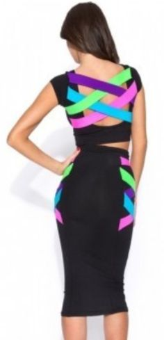 55893cc4bd462 Colorful Neon Straps Crop Top  amp  High Waist Skirt Set Neon Dresses