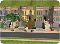 Twoflower's Sims 2 Lots: Full House Style Rowhouses - 2 versions