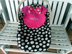 Personalize Black And White Dot And Pink Minnie Mouse Carrier Cover, Car Seat Cover Message Me Baby's Name And I Will Make One Just For You! by lindasnd on Etsy