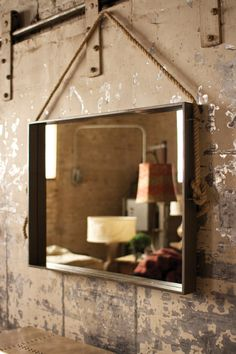 Large Rectangle Metal Mirror With Rope Hanger