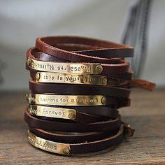 Men's Personalized WRAP Bracelet, Men's Leather WRAP Bracelet, Brown Genuine  Leather and Brass Plate Men Leather Bracelet