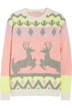 Stella McCartney Reindeer intarsia wool-blend sweater, holiday jumper with great style Bridget Jones, Stella Mccartney, Christmas Jumpers, Ugly Christmas Sweater, Holiday Sweaters, Tacky Christmas, Christmas Clothes, Reindeer Christmas, Christmas Outfits