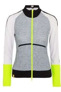 Monreal London's jacket is cut from lightweight jersey woven with a hint of flexible stretch and perforated for breathability. This slim-fitting design is spliced with neon-yellow panels to increase visibility when training in low light. Use the zipped pockets to secure your locker key and gym pass.