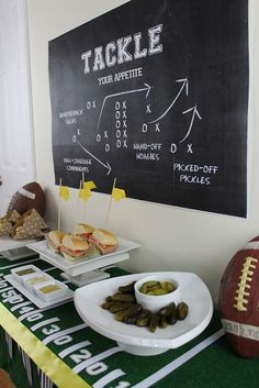Another fun way to tell your guests what you're serving. Or just a fun way to add decor to your party. Love the game play backdrop!