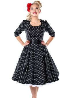 Veronica In Black, dress by Hearts and Roses London #dress #polkadot #black #circle #sleeves #vintagestyle