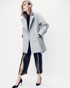 DEC '14 Style Guide: J.Crew women's melton swing coat, Collection cropped wide-leg sequin pant, and Elsie suede pumps.