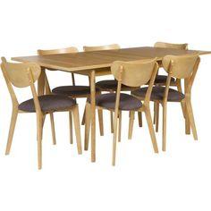 Hygena Merrick Oak Table And 6 Charcoal Chairs At Homebase Be Inspired Make