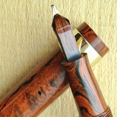 Conway Stewart Seal Pen, wood-grain rhr, c.1920's.