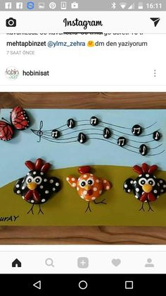 Too cute! Stone Crafts, Rock Crafts, Diy And Crafts, Crafts For Kids, Arts And Crafts, Pebble Painting, Pebble Art, Stone Painting, Rock Flowers