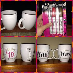 The sharpie mug! FELLOW PINNERS BEWARE!!! I tried the regular sharpies and it didn't work. Get the OIL BASED SHARPIE PAINT PENS. They cost a little more, but seems to have worked. Decorate your mug, bake at 350 for 30 min. Let cool for a good while before messing with it. I washed them the next day with a rag and soap and that didn't take any sharpie off! I wouldn't put these in the dish washer though :) #diy #mug #sharpie