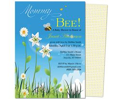 Baby Shower Invitations Template: Bee Happy Baby Shower Templates.  Edit yourself with Word, Publisher, Apple iWork Pages