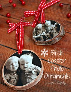 The how-to on making custom photo birch ornaments with a personalized message on the back. Easy step-by-step tutorial. Make your own birch coaster ornaments! Easy DIY handmade gift, too!