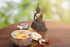 flower float water in bowl for bath buddha statue