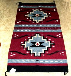 "Sharp Southwestern style throw rug.  Large 32x64"" size. Tassled ends. Durable acrylic Weave. Pretty enough to hang on your wall as a decorative tapestry!  $79.95  #rug #tapestry #homedecor @southwestern"