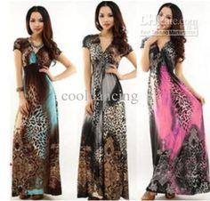 Bohemia Full Length Dress Leopard Print Dress Plus Size Short-sleeve Ice Silk Beach Dress Pink/red/blue/gray Long Dress Summer Online with $12.57/Piece on Cooldancing's Store | DHgate.com