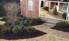 before and after Design Elements, Landscape Design, Sidewalk, Plants, Projects, Elements Of Design, Walkways, Plant, Landscape Designs