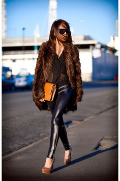Leather pants, fur coat