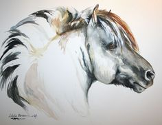 This horse looks like it's probably a Norwegian Fjord - so beautiful! The Art of Lobelia Barker - airbrush artist.