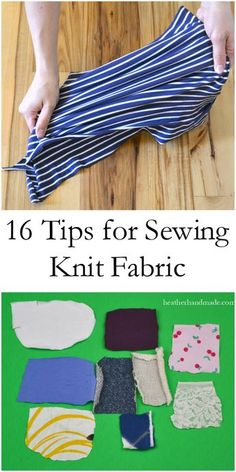 For making Riley's quilt. Sewing knit fabric can be a little intimidating unless you know some simple tips and tricks. I've learned a lot about sewing knit fabric, and I want to help you learn to love it to. I will teach you everything there is to know about how to sew knit fabric, so you can learn and become comfortable with sewing knit fabric! 16 Tips for Sewing Knits // heatherhandmade.com