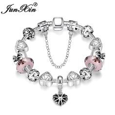 JUNXIN New Fashion Charm Heart Bracelets For Women Silver Color Wedding Beads Chains Bracelet Romantic Jewelry SMT0467