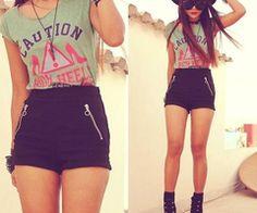 green stop black shorts