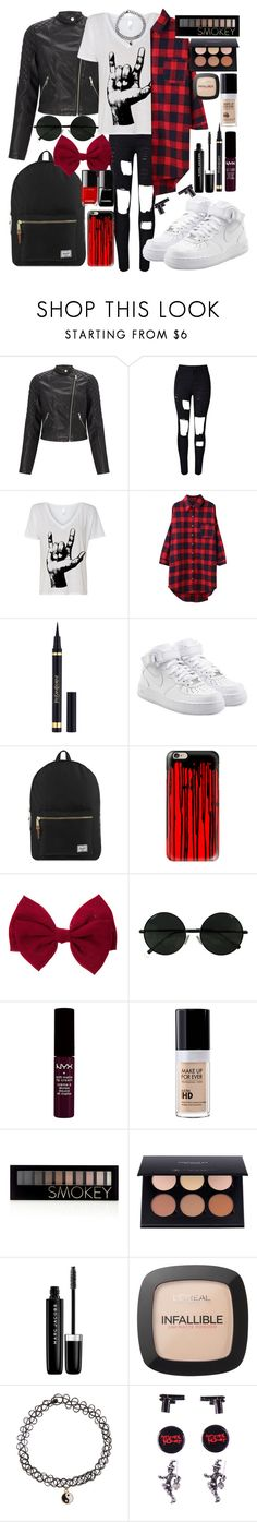 """""""rock style"""" by naty2001 ❤ liked on Polyvore featuring Lipsy, WithChic, Yves Saint Laurent, NIKE, Herschel Supply Co., Casetify, NYX, MAKE UP FOR EVER, Forever 21 and Anastasia Beverly Hills"""