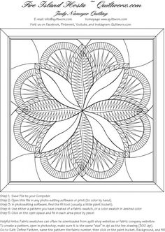 Line Drawing for the Quiltworx.com Design, Fire Island Hosta!  Note the instructions at the bottom to help you get started with adding color to this image using photo editing software!