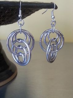 Interlocking Ring Chainmaille Earrings in Aluminum by Gen3studioS, $8.00