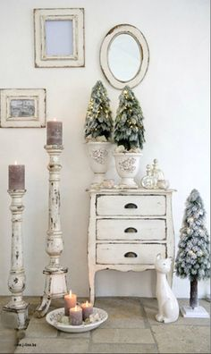 Holiday Decorations ● Cottage Christmas by Sharon Barrett Cottage Christmas, Rustic Christmas, White Christmas, Beautiful Christmas, Tabletop Christmas Tree, Christmas Decorations, Christmas Trees, Holiday Centerpieces, Christmas Holiday