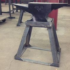 A mighty fine anvil stand, crafted in our Metalworking department.